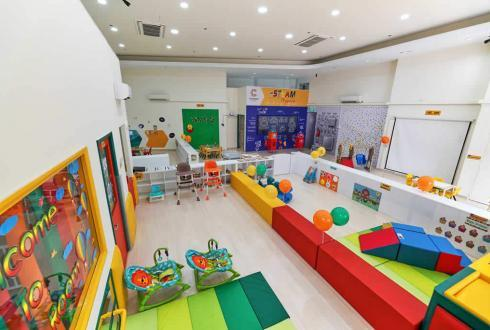 The infant care is located on the left side of the entrance. We have an infant napping room, diaper changing area and safe infant activity areas for both mobile and non-mobile infants to cater to every infant's needs.